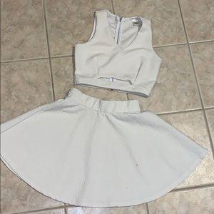 White two piece skirt set.